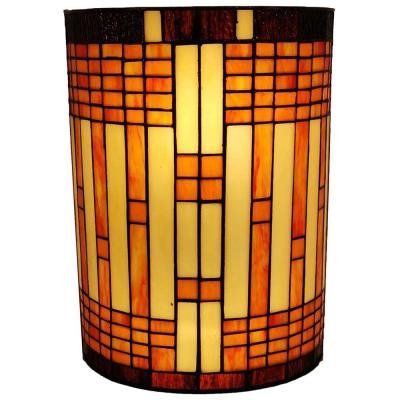 2-Light Tiffany Style Brown Yellow Geometric Stained Glass Wall Sconce