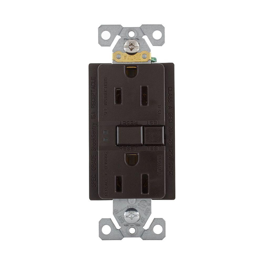 Eaton GFCI Self-Test 15A -125V Duplex Receptacle with Standard Size Wallplate, Brown