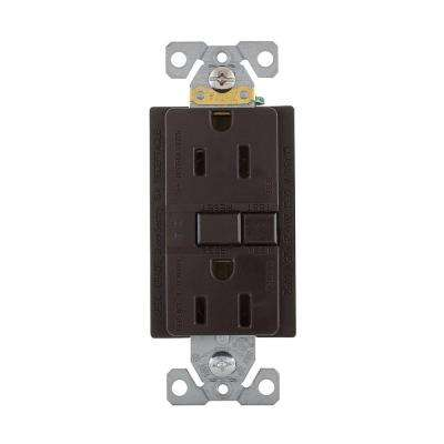 GFCI Self-Test 15A -125V Duplex Receptacle with Standard Size Wallplate, Brown