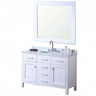 London 48 in. W x 22 in. D Vanity in Pearl White with Marble Vanity Top and Mirror in Carrera White