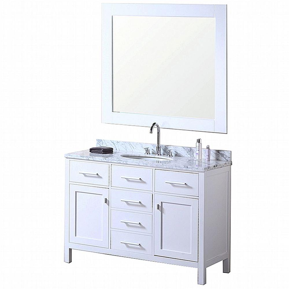 Design Element London 48 in. W x 22 in. D Vanity in Pearl White with Marble Vanity Top and Mirror in Carrera White