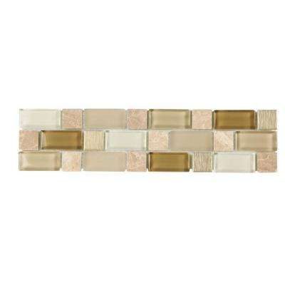 Gold Mine 3 in. x 12 in. x 8 mm Glass Wall Tile