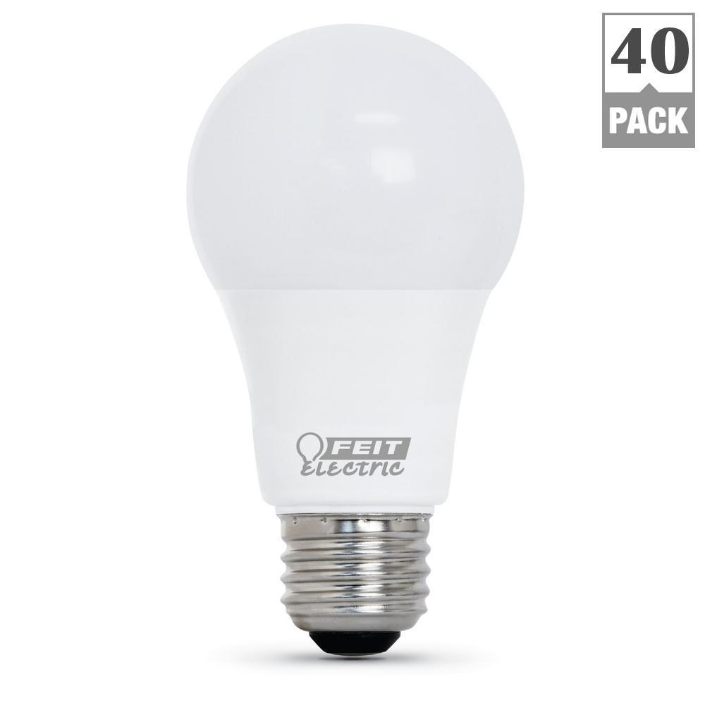 60-Watt Equivalent Bright White (3000K) A19 LED Light Bulb (40-Pack)
