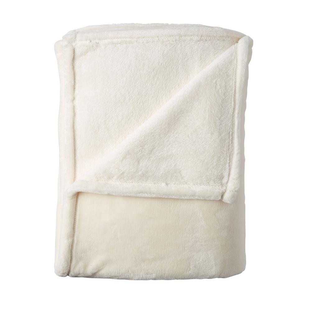 Company Plush Cream Solid Twin Blanket