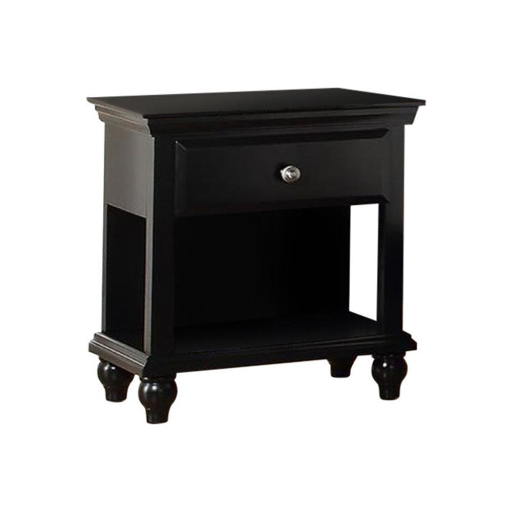 Poplar Wood 1-Drawer Black Nightstand