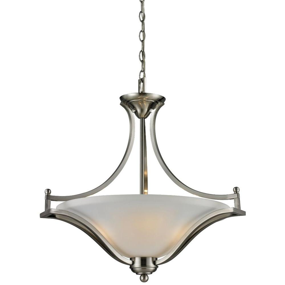 3 Light Led Ceiling Pendant Brushed Nickel Contemporary: Livex Lighting Providence 3-Light Brushed Nickel
