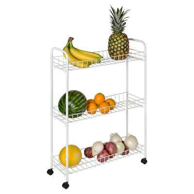 3-Tier White Laundry Cart