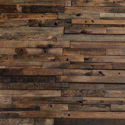 Timber Brown Beige 11.81 in. x 23.62 in. x 10mm Wood Mosaic Wall Tile (1.93 sq. ft.)