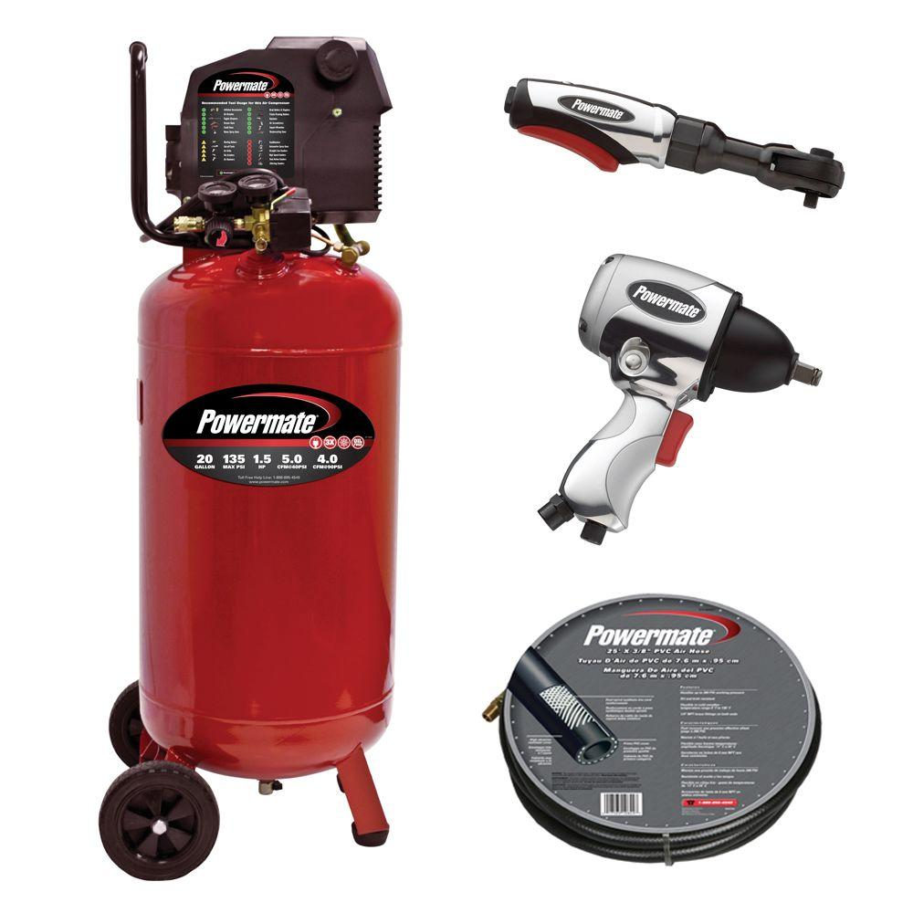 Powermate 20 Gal. Portable Vertical Air Compressor with Accessories