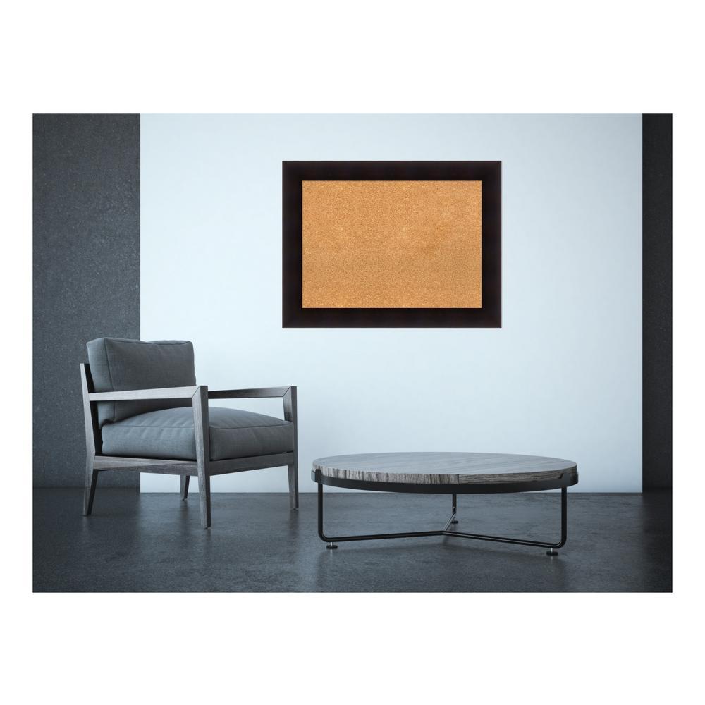 Portico Espresso Wood 34 in. x 26 in. Framed Cork Memo Board