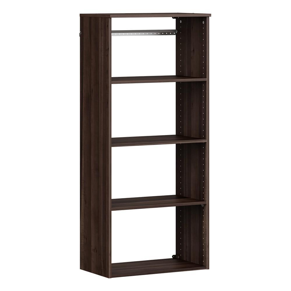 Style+ 25 in. W Modern Walnut Hanging Wood Closet Tower