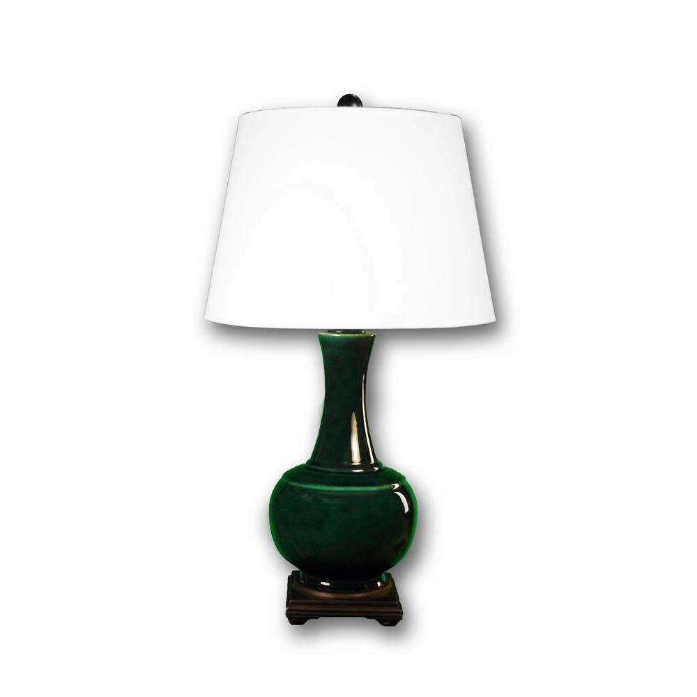 Fangio Lighting 29 In Copper Green Genie Bottle Ceramic Table Lamp