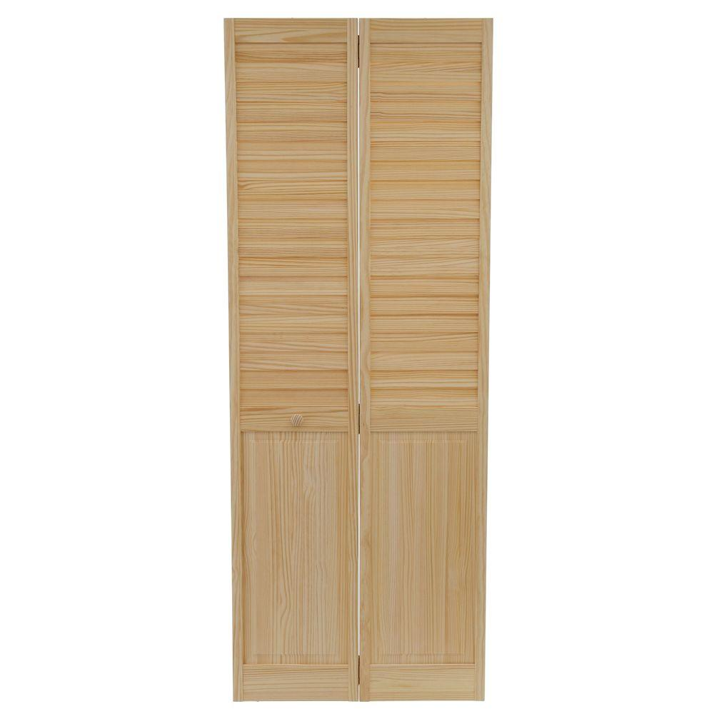 Plantation Louvered Solid Core Unfinished Panel Wood Interior Closet Bi Fold Door Dpbplpc30 The Home Depot