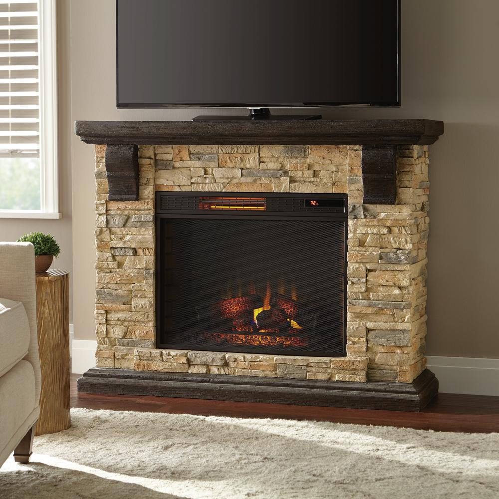 Home decorators collection highland 50 in faux stone mantel electric fireplace in tan 103041 - Images of stone fireplaces ...