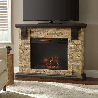Highland 50 in. Faux Stone Mantel Electric Fireplace in Tan