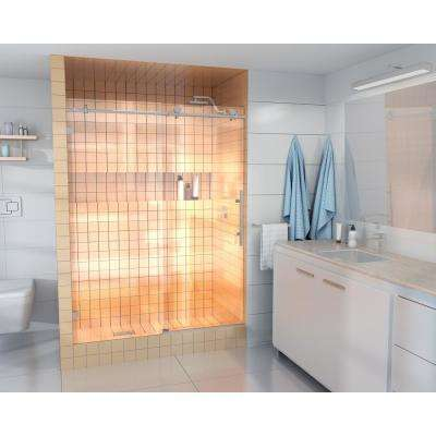 60 in. x 78 in. Frameless Sliding Shower Door in Brushed Nickel