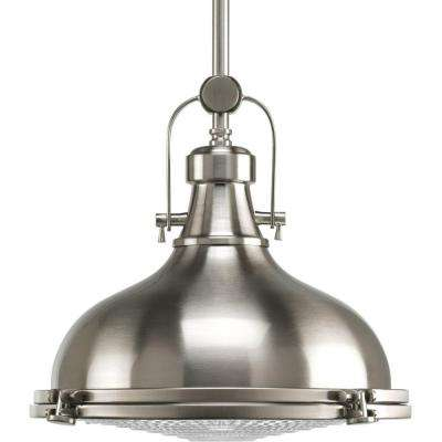 Fresnel Collection 1 Light Brushed Nickel Pendant With Lens