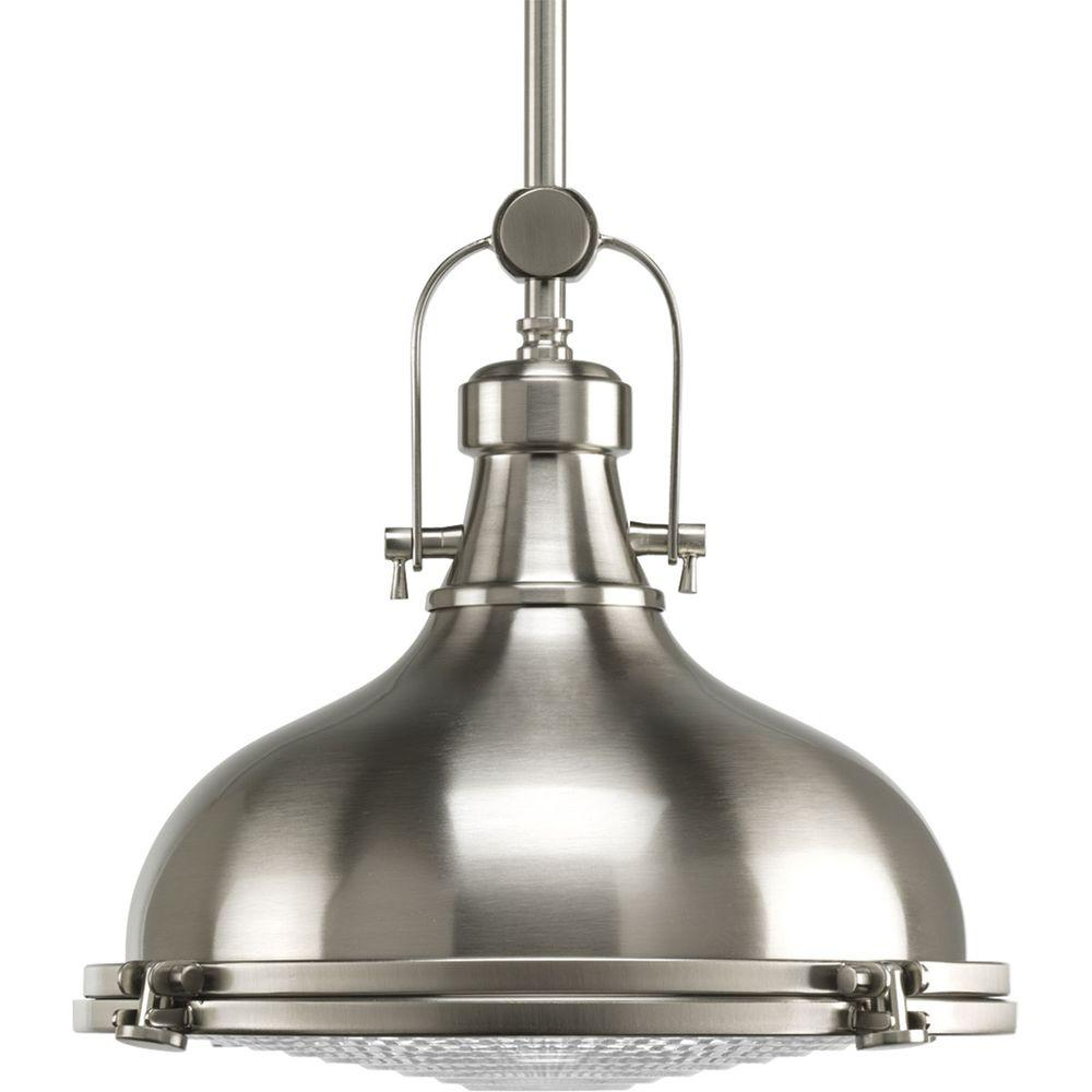 Fresnel Collection 1-Light Brushed Nickel Pendant with Fresnel Lens