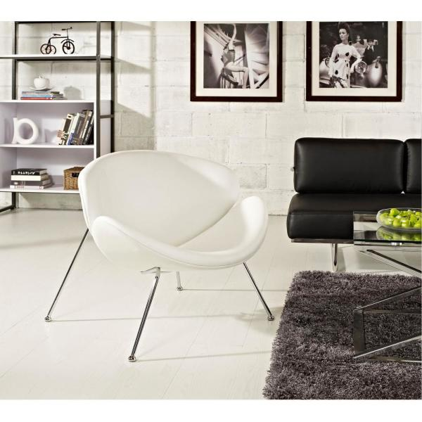 MODWAY Nutshell Upholstered Vinyl Lounge Chair in White EEI-809-WHI