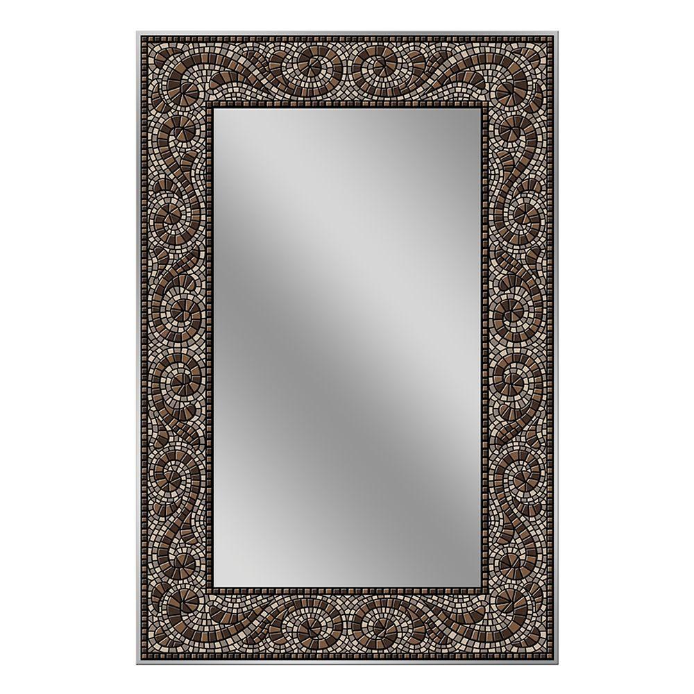 Deco Mirror 36 in. x 24 in. Frameless Mosaic Mirror in Espresso