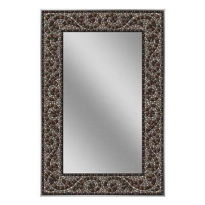 36 in. x 24 in. Frameless Mosaic Mirror in Espresso