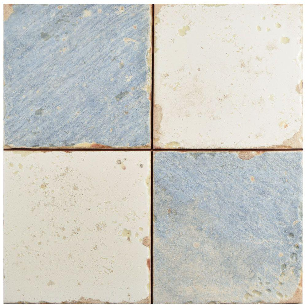 Merola Tile Artisan Damero Azul 13 In X 13 In Ceramic Floor And