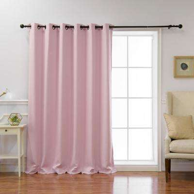 Wide Basic 80 in. W x 96 in. L Blackout Curtain in Light Pink