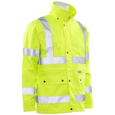 S371 ANSI Class 3 Woven Oxford Raincoat with Polyurethane Coating and Zipper Closure in Hi-Viz Lime