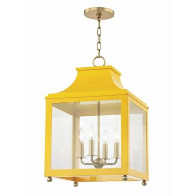 Leigh 4-Light 16 in. W Aged Brass/Marigold Pendant with Clear Glass Panel