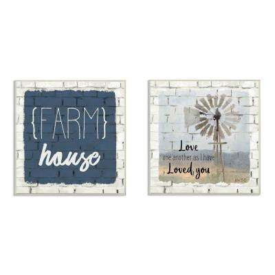"2pc, each 12 in. x 12 in. ""Grateful Thankful Blessed Farm House White Brick Look"" by Kimberly Allen Wood Wall Art"