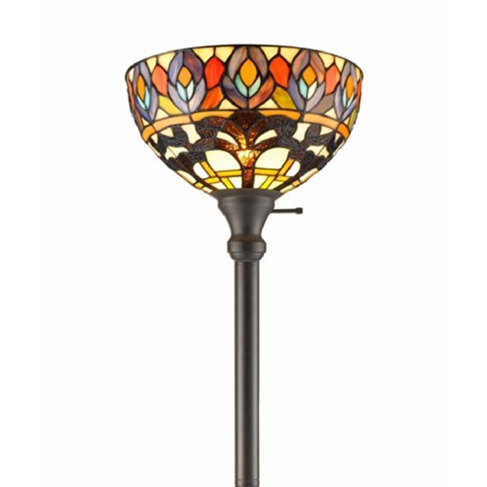 Amora Lighting 72 in. Tiffany Style Peacock Torchiere Floor Lamp ...