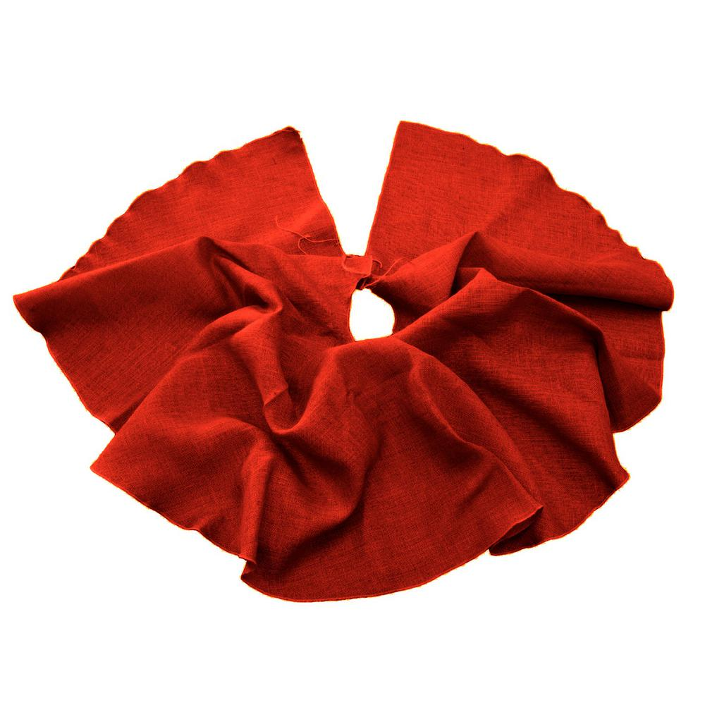 L.A. Linen 60 in. Burlap Christmas Tree Skirt Decor, Red