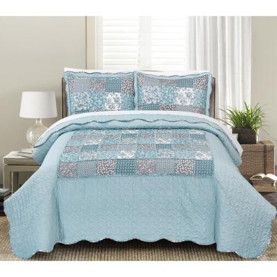 MHF Home Giselle Floral Patchwork King Quilt Set (3-Piece)
