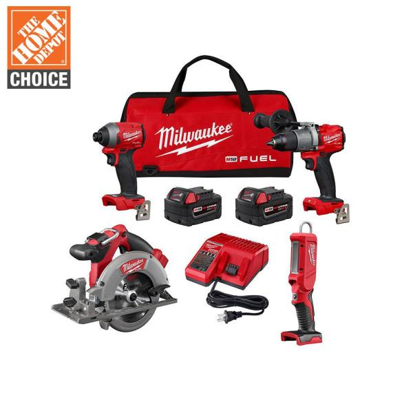 M18 FUEL 18-Volt Lithium-Ion Brushless Cordless Combo Kit (4-Tool) with Two 5.0 Ah Batteries, 1-Charger, 1-Tool Bag