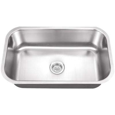 Undermount 30 in. 16 Gauge 0 Hole Stainless Steel Single Bowl Kitchen Sink in Brushed Stainless