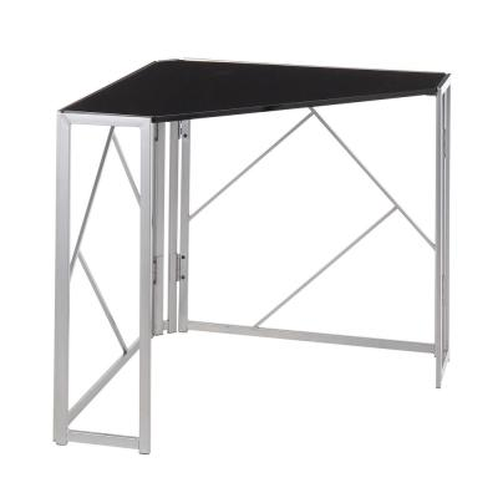 Folia 31 in. Corner Desk in Silver Metal and Black Wood