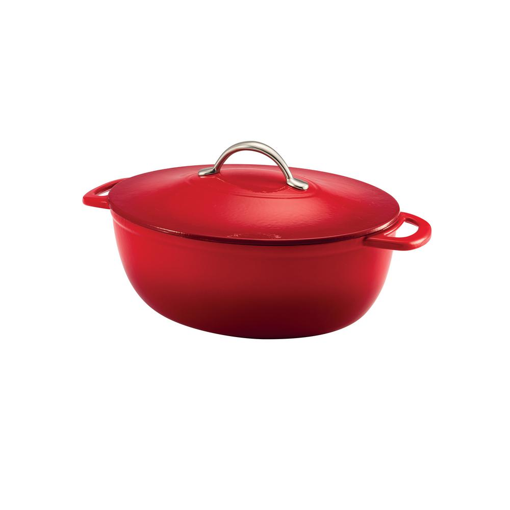 Gourmet 6.5 Qt. Enameled Cast Iron Oval Dutch Oven with Lid