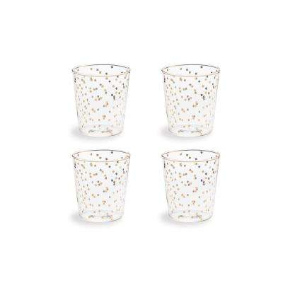 Bubbly Bar Glass 8 oz. Confetti Double-Old Fashion (Set of 4)
