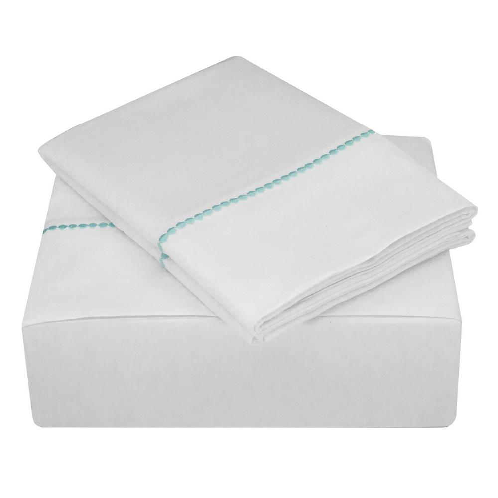 Highlights 400 Thread Count White Turquoise Cotton Dot Cuff Dot Queen
