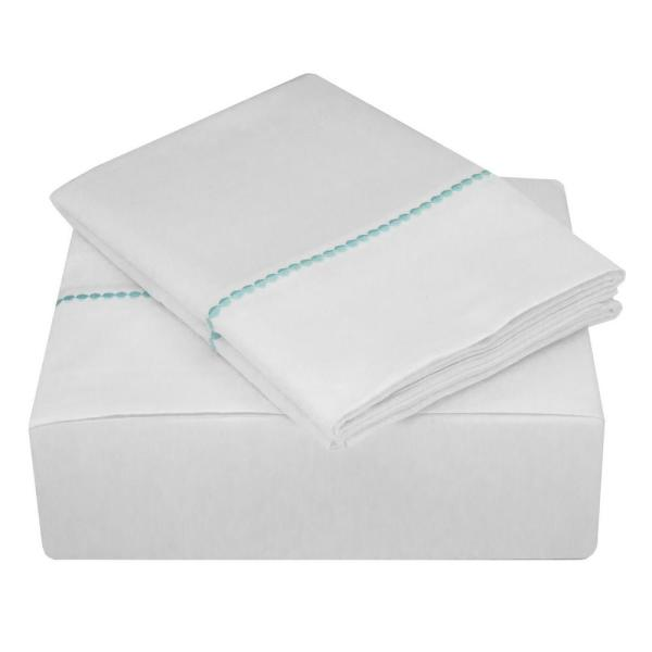 Nouvelle Home Highlights 400 Thread Count White Turquoise Cotton Dot Cuff
