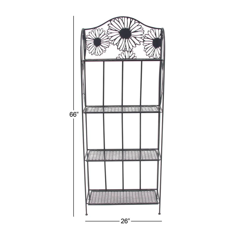 Black Floral Design 4-Tier Baker's Rack