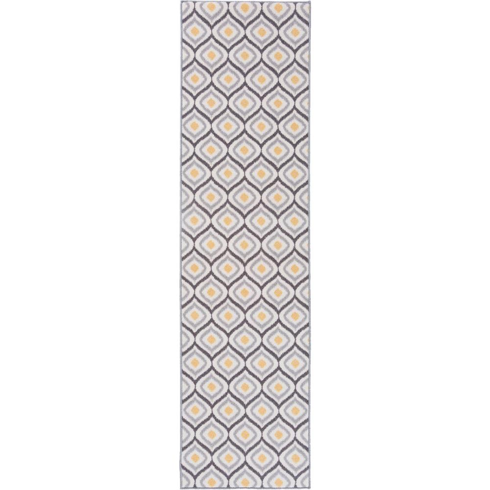 Rug Runner Non Slip: Modern Moroccan Design Non-Slip (Non-Skid) Gray-Yellow