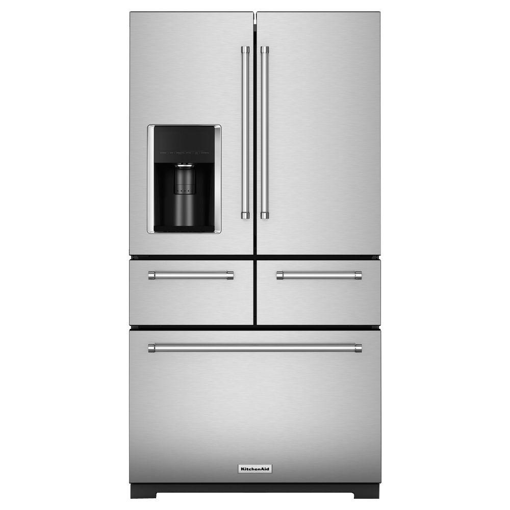 Beautiful KitchenAid 36 In. W 25.8 Cu. Ft. French Door Refrigerator In Stainless Steel
