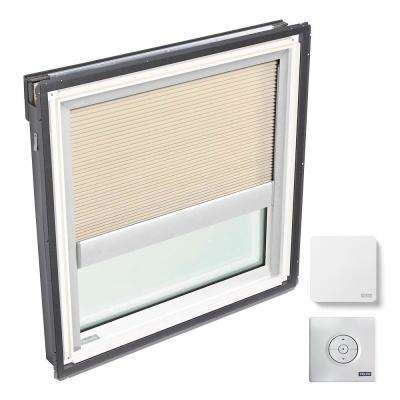 44-1/4 in. x 45-3/4 in. Fixed Deck-Mount Skylight w/ Laminated Low-E3 Glass and Beige Solar Powered Room Darkening Blind