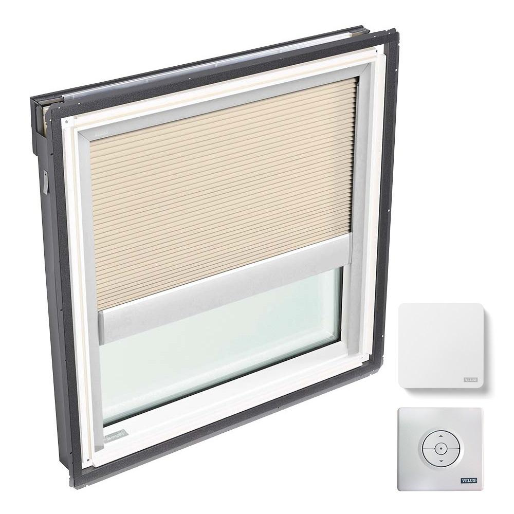 VELUX 44-1/4 in. x 45-3/4 in. Fixed Deck Mount Skylight w/ Laminated Low-E3 Glass and Beige Solar Powered Room Darkening Blind