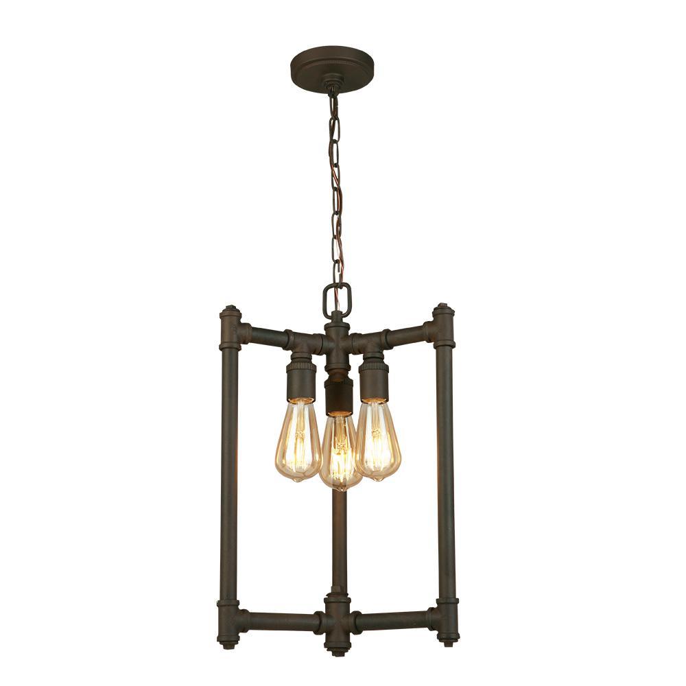Rivertown 3-Light Rustic Bronze Chandelier