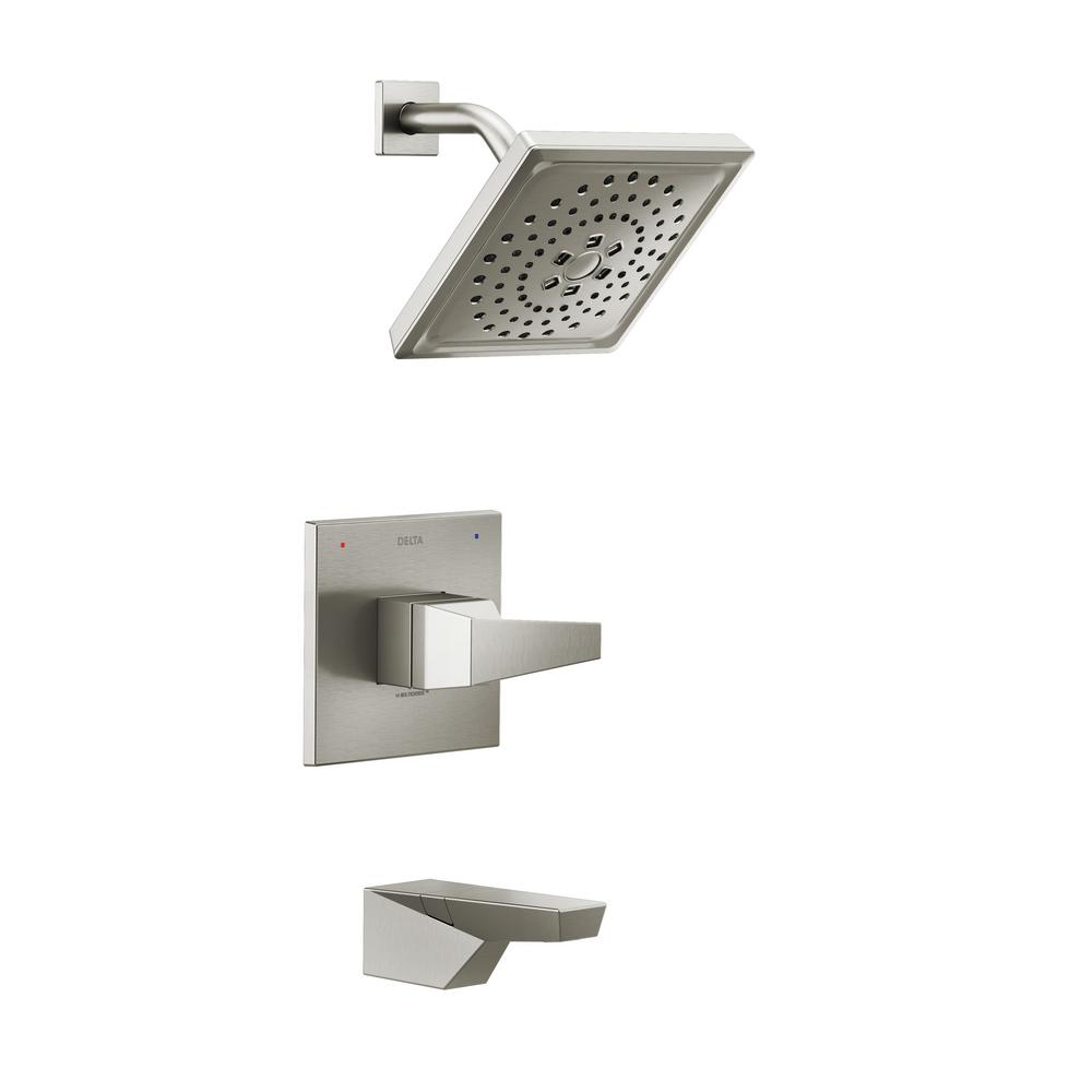 Trillian 1-Handle Wall-Mount Tub and Shower Trim Kit in Stainless (Valve not Included)