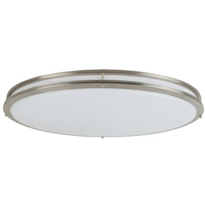 Owens 32-2/5 in. x 18-1/8 in. 42-Watt Brushed Nickel Integrated LED Oval Flush Mount Ceiling Light