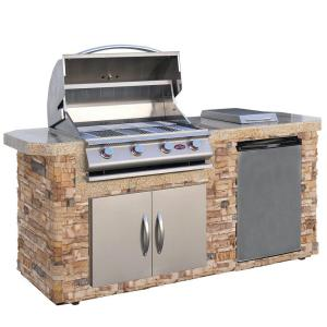 Click here to buy Cal Flame 7 ft. Cultured Stone Grill Island with 4-Burner Gas Grill in Stainless Steel by Cal Flame.