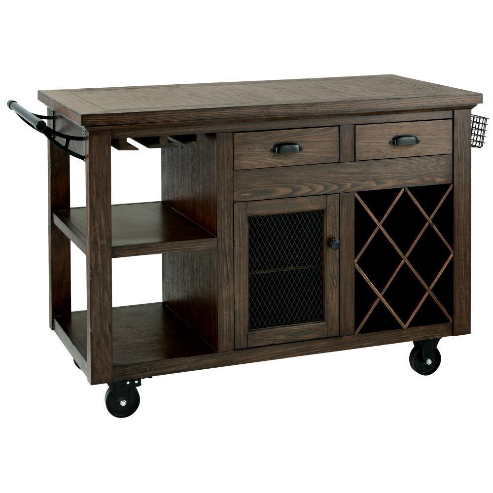 Cooper Rustic Walnut Kitchen Cart